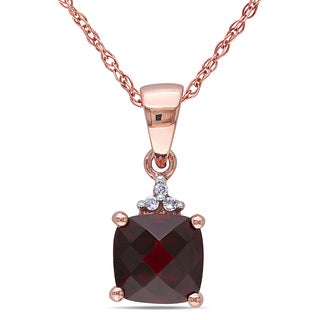 Miadora 10k Rose Gold Garnet and Diamond Accent Necklace