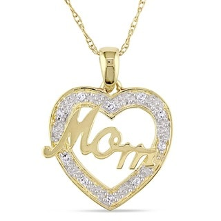 Miadora 10k Yellow Gold Diamond Accent Mom Heart Necklace