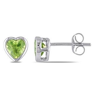 Miadora 10k White Gold Peridot Heart Earrings