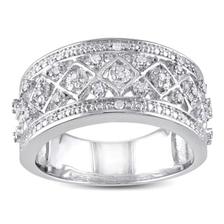 Haylee Jewels Sterling Silver 1/6ct TDW Diamond Ring (H-I, I2-I3)