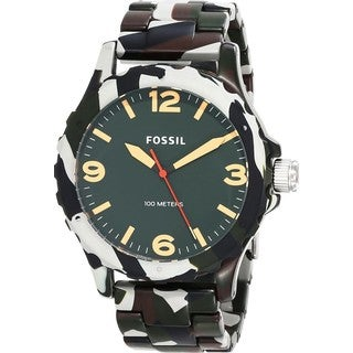 Fossil Nate Three-Hand Resin Watch Green Camo Jr1462