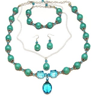 Turquoise Bumpy Glass Pearl and Turquoise Crystal 4-piece Wedding Jewelry Set