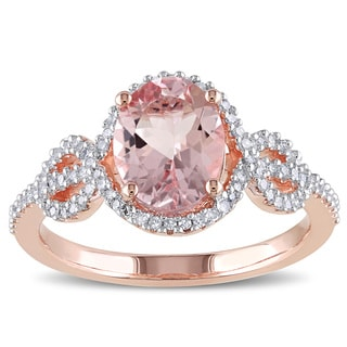 Miadora 10k Rose Gold Morganite and 1/4ct TDW Diamond Ring (G-H, I1-I2)