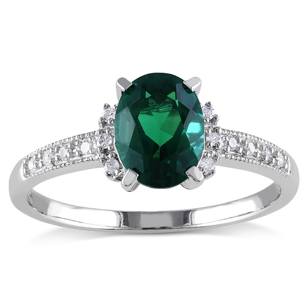 Miadora 10k White Gold Created Emerald and Diamond Accent Cocktail Ring 13321335