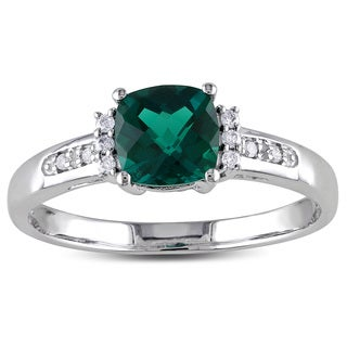 Miadora 10k White Gold Created Emerald and Diamond Accent Cocktail Ring