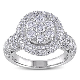 Miadora Signature Collection 10k White Gold 2ct TDW Diamond Cluster Engagement Ring (H-I, I2-I3)