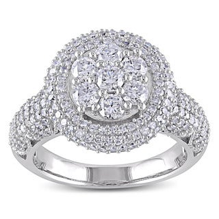 Miadora Signature Collection 10k White Gold 2ct TDW Diamond Cluster Engagement Ring (H-I, I2-I3)