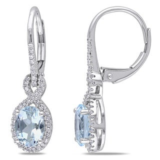 Miadora 10k White Gold Aquamarine and 1/4ct TDW Diamond Earrings (G-H, I1-I2)