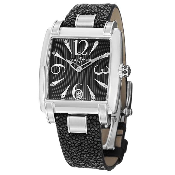 Ulysse Nardin Women's 133-91/06-02 'Caprice' Black Diamond Dial Black Leather Strap Watch