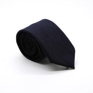Zonettie by Ferrecci Dark Navy Plaid Slim Necktie and Pocket Square Set