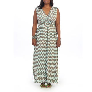 Hadari Women's Plus Size Green Chevron Print V-neck Maxi Dress