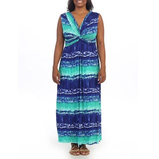 Hadari Women's Plus Size Blue V-neck Maxi Dress