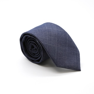 Zonettie by Ferrecci Navy Blue Plaid Slim Necktie and Pocket Square Set