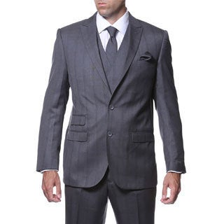 Zonettie by Ferrecci Men's Slim Fit Grey and Blue Plaid Double-breasted 3-piece Vested Suit