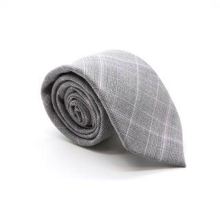 Zonettie by Ferrecci Lazio Grey Plaid Slim Necktie and Pocket Square Set