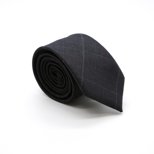 Zonettie by Ferrecci Charcoal/ Burgundy Plaid Slim Necktie and Pocket Square