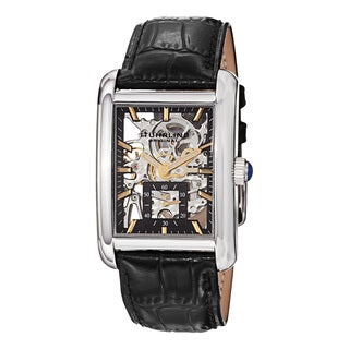 Stuhrling Original Men's Gatsby Plaza Mechanical Leather Strap Watch