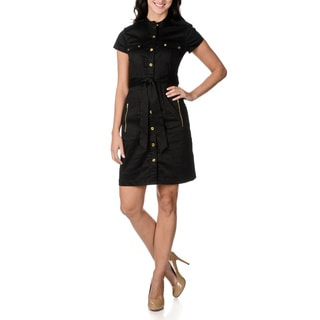 Lennie for Nina Leonard Women's Black Belted Shirt Dress