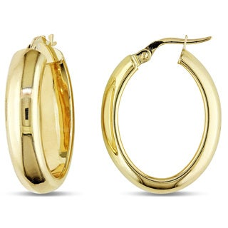 Miadora 10k Yellow Gold Oval Hoop Earrings