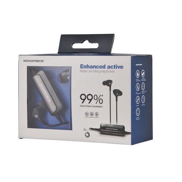 Monoprice Enhanced Active Noise Cancelling Black Earphones