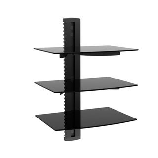 Monoprice Electronic Component Glass Shelf Wall 3-tier Mount Bracket with Cable Management System