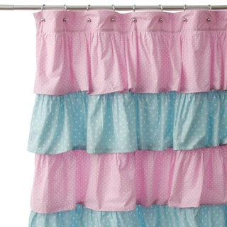 Pink and Blue French Ruffle Shower Curtain