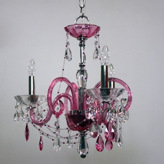 Black Tie 3-light Raspberry Glass Chandelier