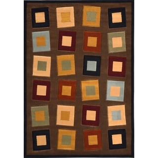 Revolution Contemporary Brown-Multicolored Rug (7'10 x 10'10)