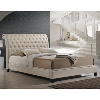 Baxton Studio Jazmin Tufted Light Beige Modern Bed with Upholstered Headboard