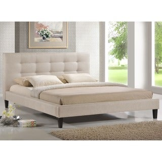 Baxton Studio Quincy Light Beige Linen Platform Bed - King Size