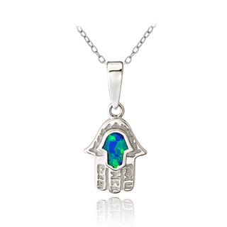 Glitzy Rocks Sterling Silver Created Blue Opal Hamsa Necklace