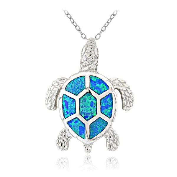 Glitzy Rocks Sterling Silver Created Blue Opal Sea Turtle Necklace
