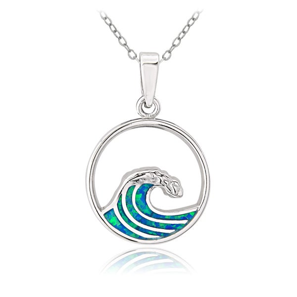 Glitzy Rocks Sterling Silver Created Blue Opal Ocean Wave Necklace