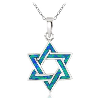 Glitzy Rocks Sterling Silver Created Blue Opal Star of David Necklace