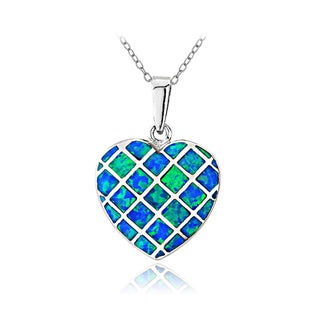 Glitzy Rocks Sterling Silver Created Blue Opal Heart Necklace