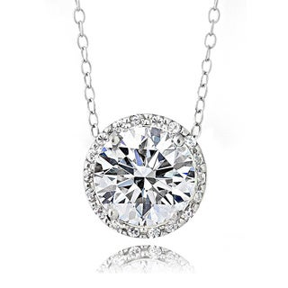 Icz Stonez Platinum Plated Sterling Silver 3ct TGW 100 Facets Cubic Zirconia Halo Necklace