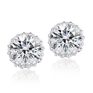 Icz Stonez Platinum Plated Sterling Silver 3 3/4ct TGW 100 Facets Cubic Zirconia Halo Stud Earrings