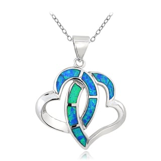 Glitzy Rocks Silvertone Created Blue Opal Interlocking Heart Necklace
