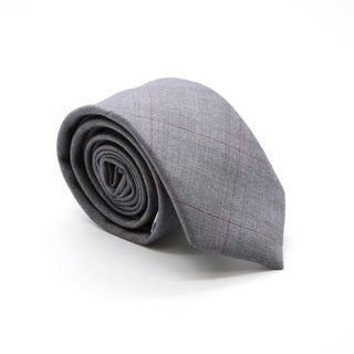 Zonettie by Ferrecci Grey Plaid Slim Necktie and Pocket Square Set
