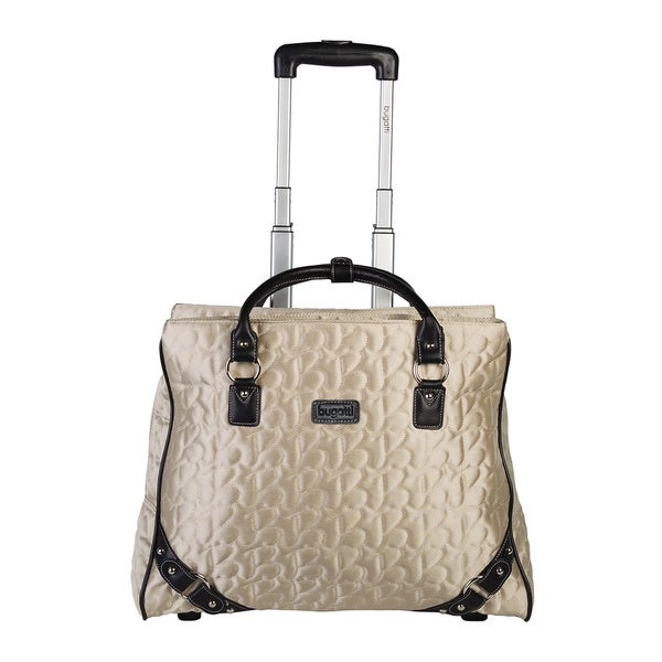 Bugatti Women's Beige Textured Carry On Rolling 17-inch Laptop Case