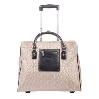 Women's Beige Textured Polyester Wheeled Bag