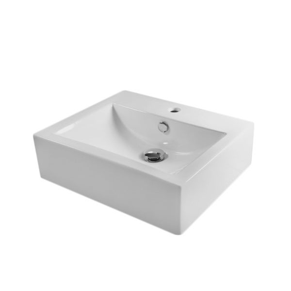 European Style Rectangular 20-1/2-inch Porcelain Ceramic Bathroom Vessel Sink