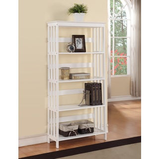 5-tier White Wood Bookshelf