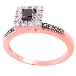 Beverly Hills Charm 14k Rose Gold 1/2ct TDW Black/ White Diamond Ring (H-I,SI2-I1)