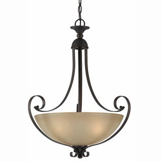 Value Series Cognac Scavo Glass 3-light English Bronze Pendant