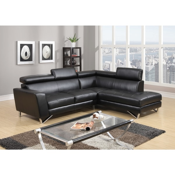 Black PU Leather Sectional