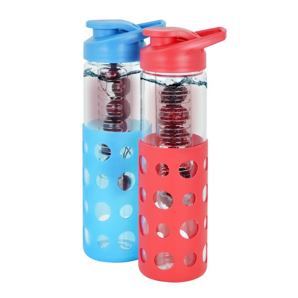Modernhome Set of Two (2) Fruit Infused Glass Water Bottle Set