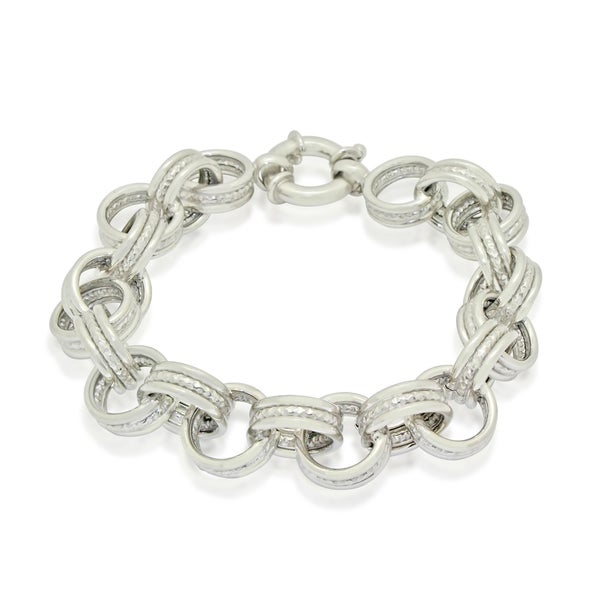 Gioelli Sterling Silver Triple Circle Link Bracelet