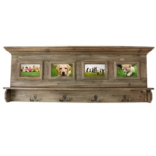 Antiqued Handcrafted Weathered Wooden Family Album Picture Frame Coat Rack