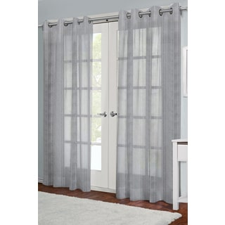 Jordan Grey 84-inch Grommet Top Sheer Curtain Panel Pair